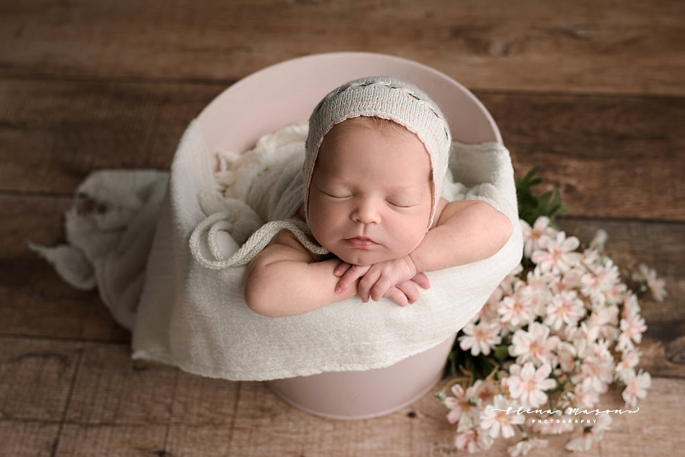 newborn photography Belfast, newborn photography Northern Ireland, newborn photographer, newborn photos, baby photos, baby wrapped, baby in purple, newborn outfit, newborn dress, sleeping baby, photographer, photographer Belfast, Elena Mason Photography, baby in bucket, baby in hat