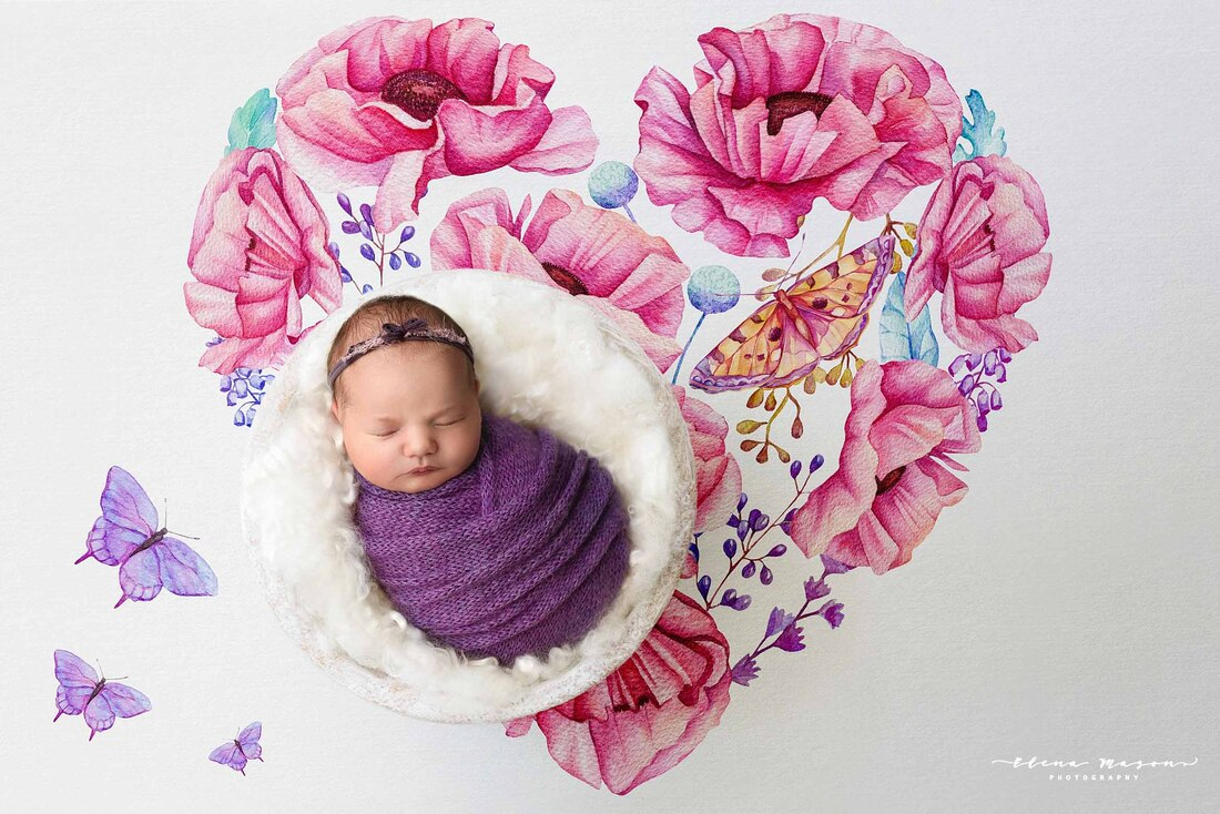 newborn photography Belfast, newborn photography Northern Ireland, newborn photographer, newborn photos, baby photos, baby wrapped, baby in purple, newborn outfit, newborn dress, sleeping baby, photographer, photographer Belfast, Elena Mason Photography, baby in flowers